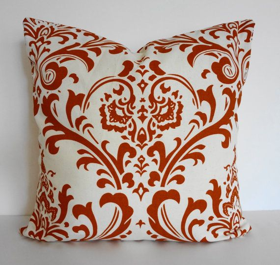 Burnt Orange Decorative Damask Pillow Cover Modern by pillows4fun, $22.00