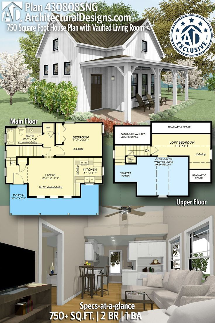 Plan 430808sng 750 Square Foot Cottage House Plan With Vaulted Living Room Small Cottage House Plans Small Cottage Homes Cottage Plan
