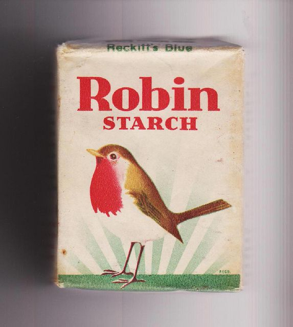 """Front of an old box of """"Robin"""" starch made by Reckitt & Colman Ltd"""