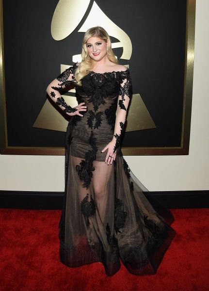 Meghan Trainor in Galia Lahav at the 57th Annual GRAMMY Awards (Photo: Getty Images) See what the other stars wore on the red carpet www.flare.com/celebrity/the-2015-grammy-awards-red-carpet/