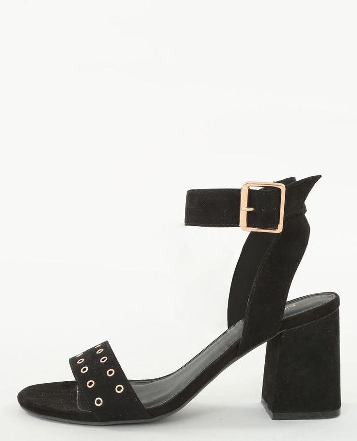Sandales talons carrés noir