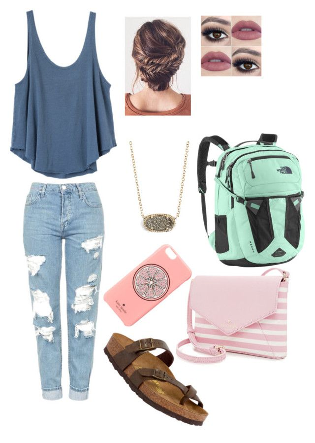 """casual day of school"" by mkhays on Polyvore featuring Birkenstock, RVCA, Topshop, Kate Spade, The North Face and Kendra Scott"