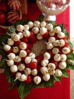 Basil, Cherry Tomato, Marinated Mozzarella Ball Skewer/Toothpick Bites, arranged on platter in a wreath shape, great for holiday parties!