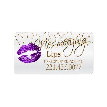 #Golden Confetti & Purple Lips - Reorder Label - #glitter #makeup #artist #cards #stylists #custom