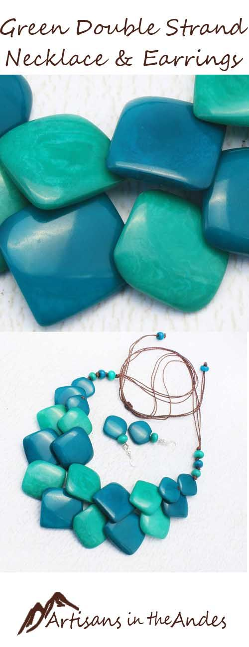 Enjoy the energy with this green and blue necklace set. It will enhance your outfit with its one of a kind look. Included are matching dangling earrings. This is eco friendly jewelry #fashionaccessories #shoppingonline #shoppingtime #shopping