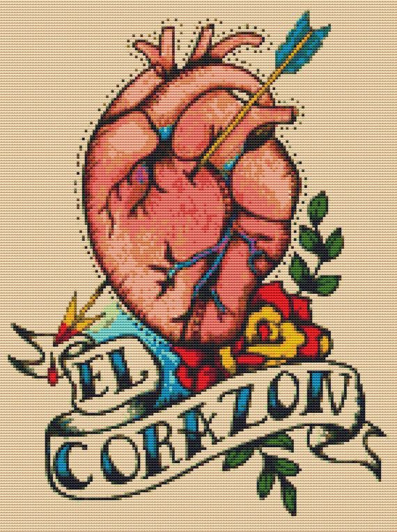Anatomical Heart Tattoo Cross Stitch PDF Pattern 'El Corazon' By Illustrated Ink. - Loteria Needlecraft Chart