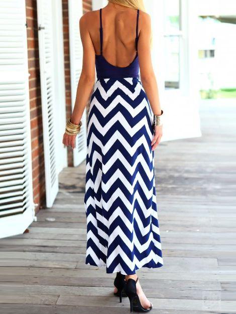 Navy Wave Print Maxi Dress | Choies