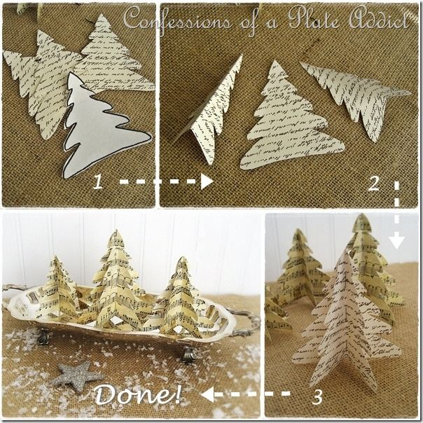 ~Simple Paper Trees~ Make 3 identical tree shapes out of vintage-y scrapbook…