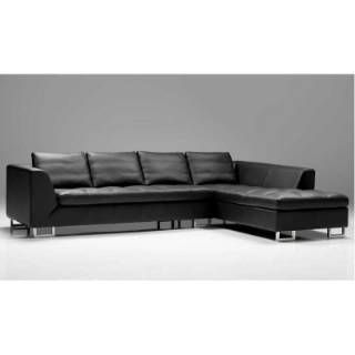 mobital tetris right side facing chaise sectional in black with semianiline leather