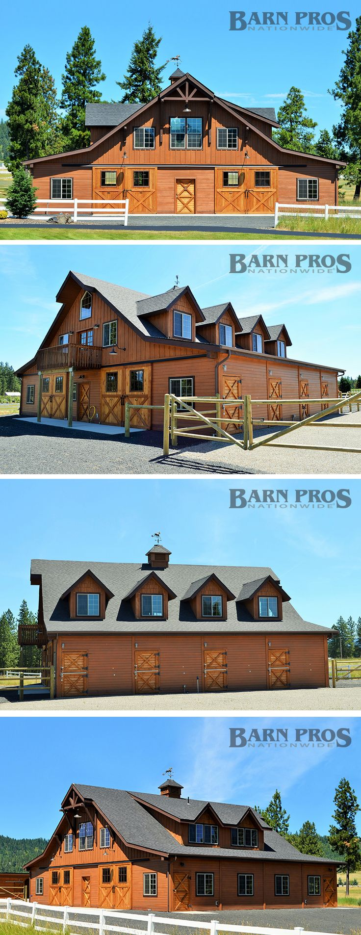 Double breezeway barn measuring 60ft wide x 48ft long - Barn Pros Equestrian gable barn kit #stable #modular #dormer who wants to build me this?