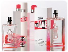 Ma Dame by Jean Paul Gaultier for women -- undecided on this one, smells more minty and syrupy (maybe the woody notes coming through strongly?). Woody, citrus, sweet, fruity, rose. Orange, rose, grenadine, musk, cedar. Created by Francis Kurkdjian (Takasago) in cooperation with BPI (Shiseido).