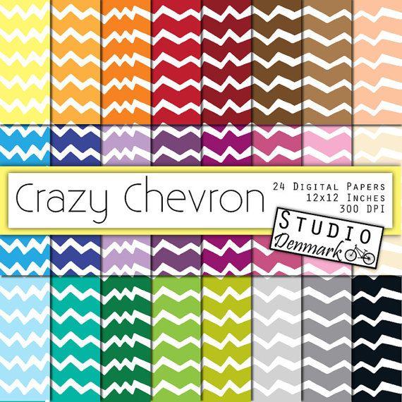 Crazy Chevron Digital Paper Value Pack - Doodle Chevron Paper  - 12x12in 300 dpi - Instant Download - Commercial Use - Chevron Digital Paper #handmade #design