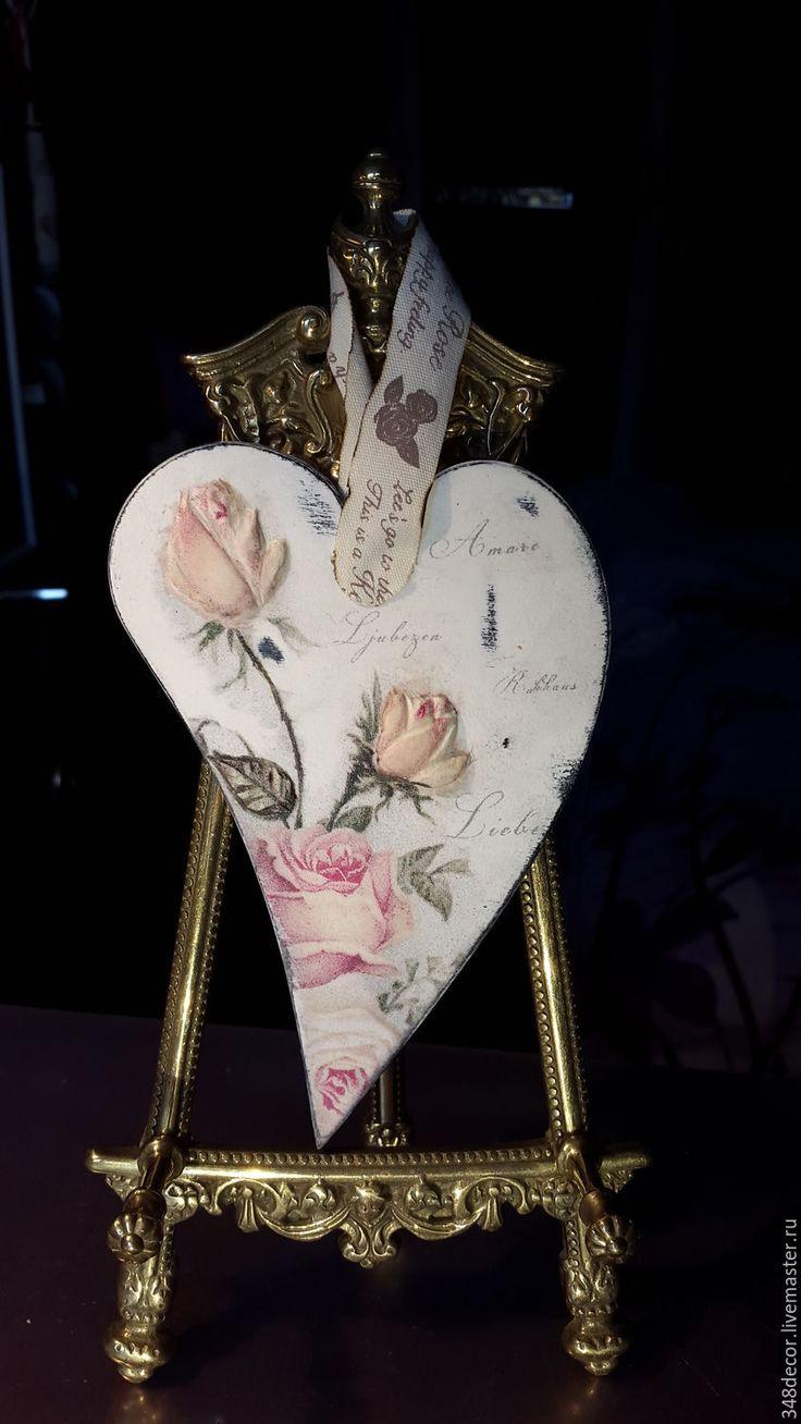 Купить Сердце винтажные розы. - разноцветный, Декупаж, винтажный стиль, сердце, День Святого Валентина