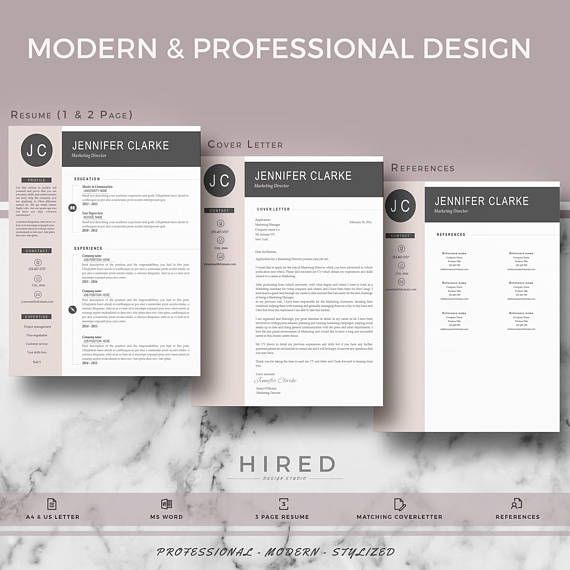 Resume / CV template. Professional & Modern style. Resume Template for Word: Jennifer Instant DL + Cover letter + References sheet + Resume writing guide + icon set - 100% Editable. - Instant Digital Download. - US Letter & A4 size format included. - Mac & PC Compatible using Ms