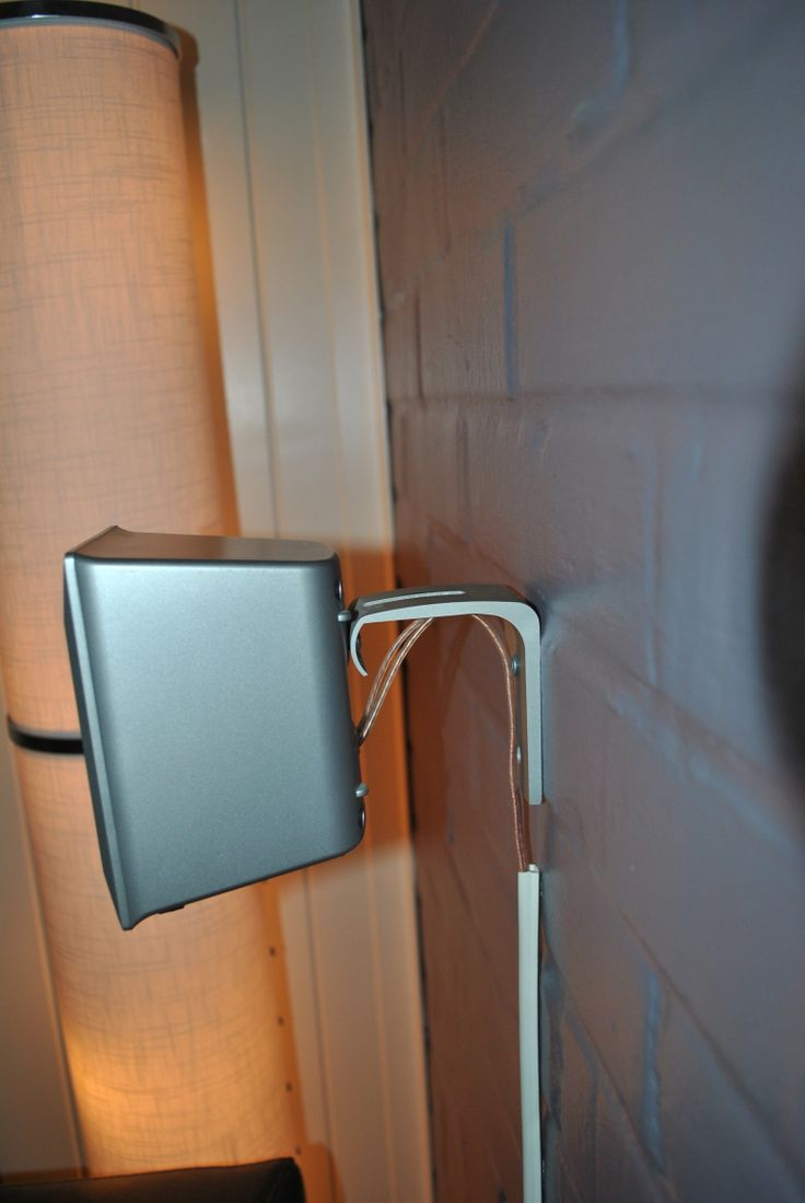 Wall heng for speakers. Orginal made for hanging curtains.( Ikea)