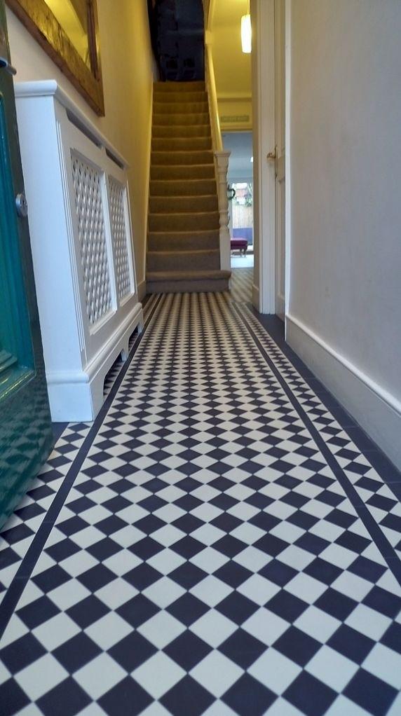 Victorian Black And White Mosaic Tile Hallway Path With Diamond Border London