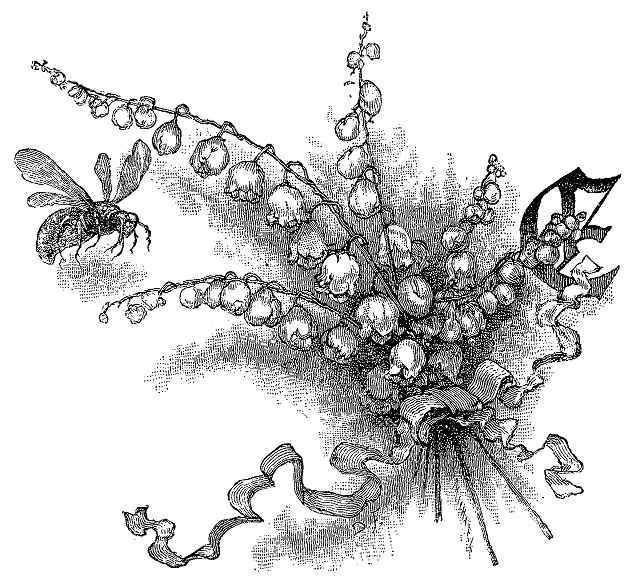 """Decorative initial letter E Goethe's Works [Goethes Werke] (1882)    A bee approaches a bunch of flowers tied with a ribbon in this large decorative capital """"E"""". The image appears to be unsigned"""