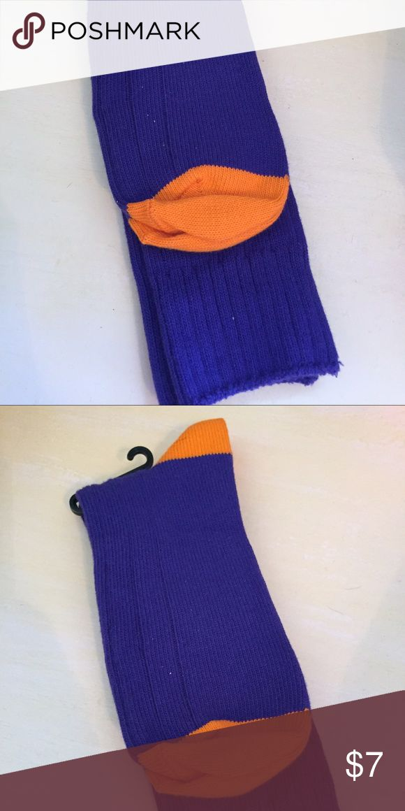 MENS SOCKS Purple and orange ribbed socks. 70% cotton 30% nylon. Fits size 10-13. Socks are so on trend!! Great gift! Great stocking stuffer.   I try to catch the color that best reflects color of item. There may be a slight color difference. BOUTIQUE ITEMS MAY OR MAY NOT HAVE A TAG, BUT ARE NEW SHIPPED FROM VENDOR. Underwear & Socks Casual Socks