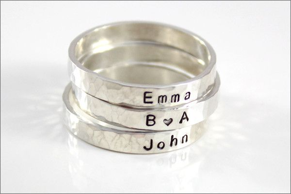 Custom Skinny Rings | Personalize with Your Names, Dates & Initials | Christmas Gift for Mom or Wife