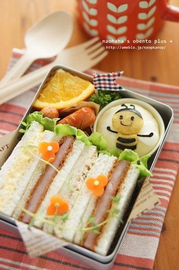 Japanese-style Kawaii Sandwich Bento BoxLunch (Ham Cutlet, Egg Salad, Tuna Mayo)