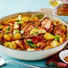 Scharfes Weißkohl-Curry mit Hähnchen