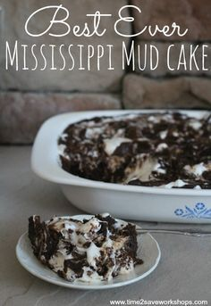 Best Ever Mississippi Mud Cake recipe.  my kids and I made this mouth watering Mississippi Mud Cake today for my husband for Father's Day. It's completely from scratch, but so easy to make. In fact, my 7 and 10 year old could almost make it by themselves, with a little help from mom of course. It's a perfect last minute dessert for your favorite chocolate lover.
