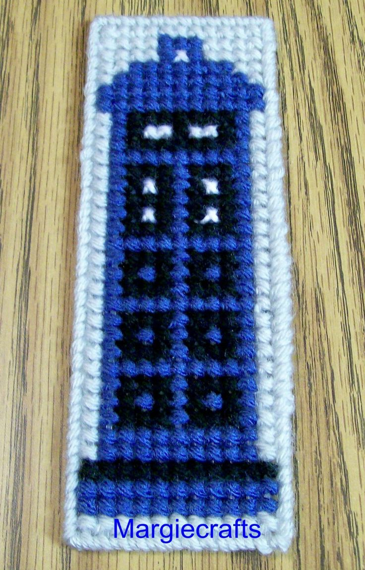 Dr. Who Bookmark, Tardis Bookmark, Plastic Canvas Bookmark, Police Box, HandmadeNone