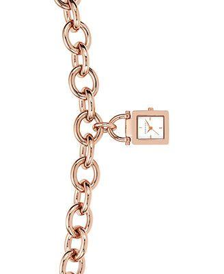 Anne Klein Watch, Women's Rose Gold-Tone Chain Bracelet 18mm AK-1174RGCH