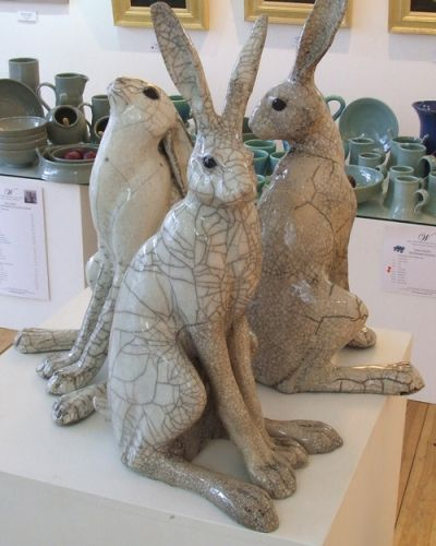 'Large Hares' by Paul Jenkins. Moongazing, Turning and Sitting Raku Ceramic Hare Sculpture. £225 each.  info@whitehousegallery.com  01557 330223