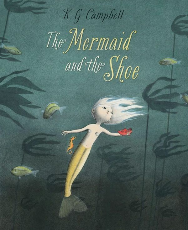 The Mermaid and the Shoe by K.G. Campbell: each of Minnow's 50 sisters has an amazing skill, but Minnow has nothing but questions about everything. She feels sad and useless, until a mysterious object drifts down from above. No one knows what it is, which prompts Minnow to go on a search to find out where it came from and what it's for. Funny and cute little story. Warning: brief mean sister alert - maybe read it yourself first to make sure you're okay with sharing this one