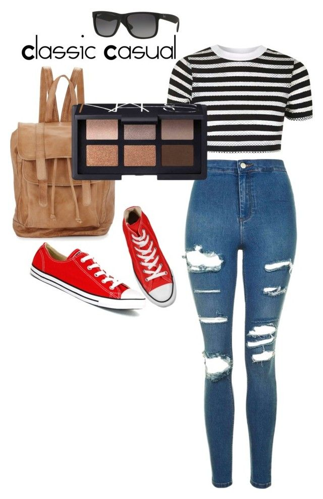 """""""Classic Casual!"""" by love-eve13 on Polyvore featuring Topshop, Converse, Day & Mood, Ray-Ban and NARS Cosmetics"""
