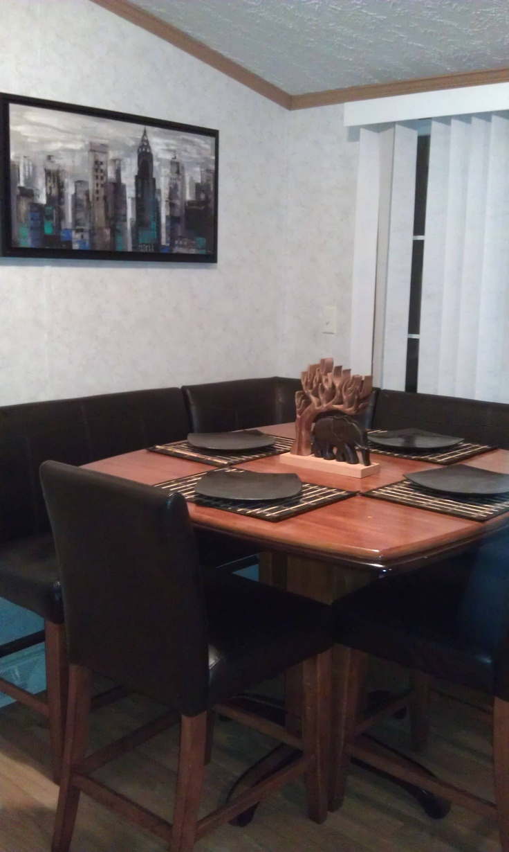 Bar style leather booth dining table home decor pinterest tables dining tables and bar - Booth style kitchen tables ...
