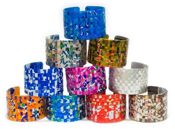 Bracelets made from Recycled Pop Cans