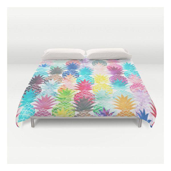 Hawaiian Pineapple Pattern Tropical Watercolor Duvet Cover ($129) ❤ liked on Polyvore featuring home, bed & bath, bedding, duvet covers, lightweight duvet, microfiber duvet, ivory duvet, king size duvet e king duvet