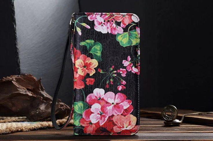 GG Galaxy S7 Wallet Case Fashion Black Flower