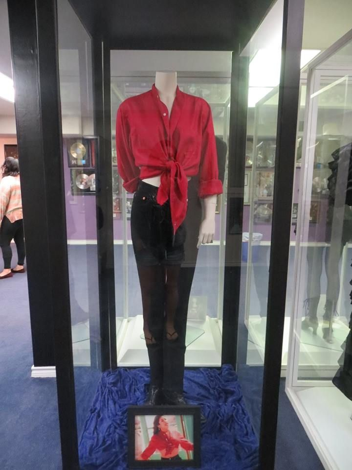 Selena's Amor Prohibido video outfit at The Selena Museum in Corpus Christi, this shirt belonged to Chris Perez and Selena borrowed it for the video so, Chris recently donated this to the museum.