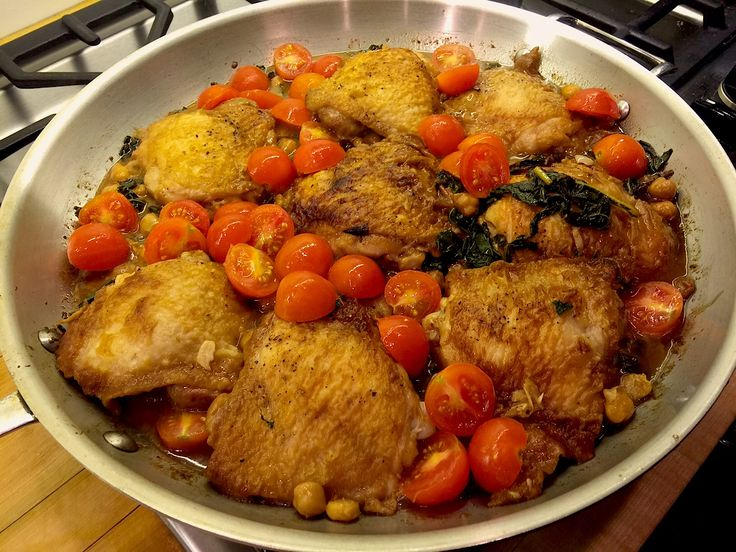 Pollan Family Table - SKILLET CHICKEN WITH KALE, CHICKPEAS, SHALLOTS ...