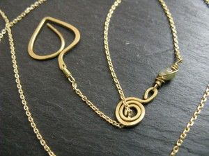 Geometric leaf, dainty brass chain necklace, interlink or lariat option