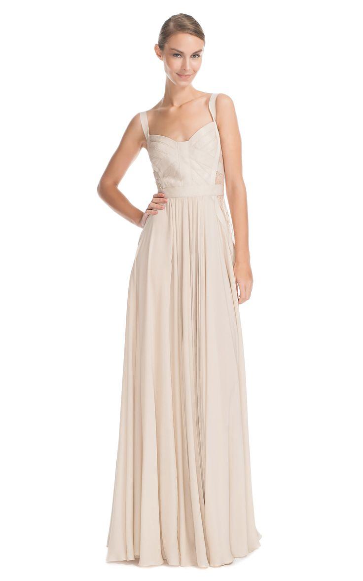 Shop Elie Saab Vanilla Silk Georgette And Lace Long Dress