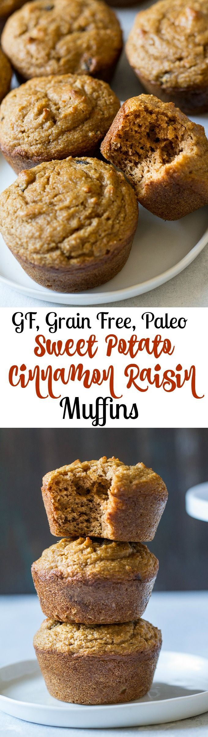 Cinnamon Raisin Sweet Potato Muffins that are grain free, dairy free, Paleo, kid friendly, great for snacks and breakfast.