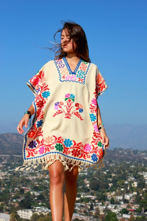 Beautiful Bohemian Mexican Hand Embroidered Wool Poncho by Vdingy