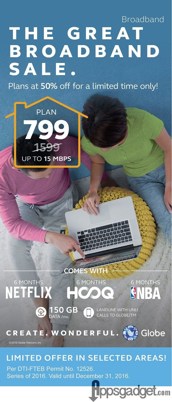 Globe Broadband and Bayan Broadband 50% off Monthly