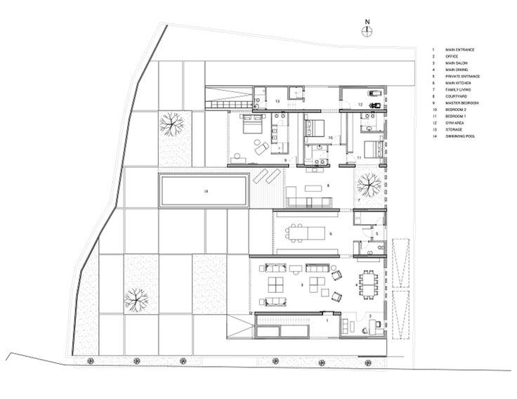 53b200e3c07a80790f0001b2_jiyeh Villa Accent Design Group_01_ground_floor_plan.png  (2000×1545). Ground FloorModern HousesModern ArchitectureFloor PlansHouse  ...