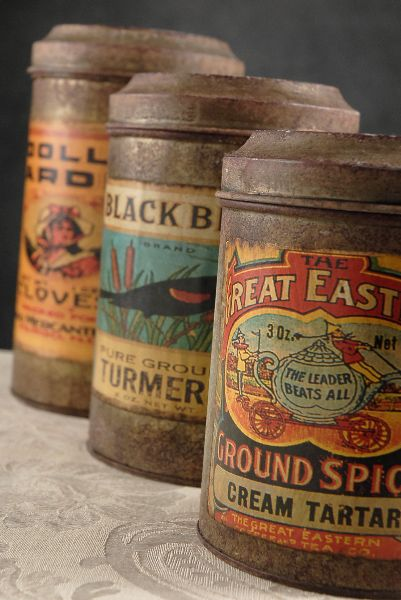"""Metal Spice Canisters Vintage Labels   (Set of Three Cans) $28 (8.25"""", 7"""" , 6.25"""" tall)"""