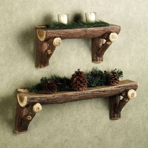 Give your lodge extra woodland feel with this charming rustic timber log wall shelf. http://hative.com/diy-ideas-with-twigs-or-tree-branches/