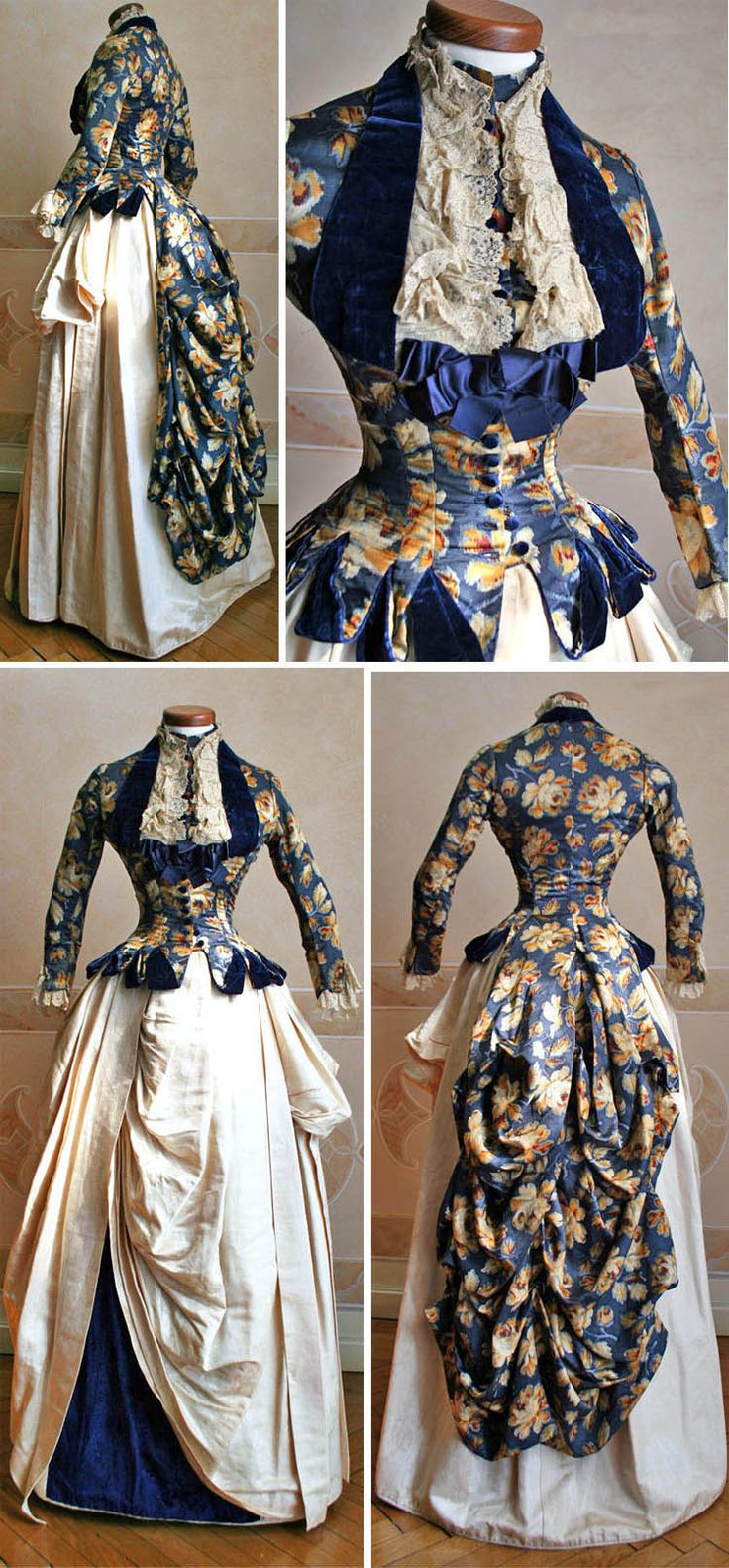 Two-piece dress (skirt and bodice), 1886. Silk crêpe de chine bodice with blue velvet trim. Skirt in ivory silk with blue velvet inlay. Abiti Antichi