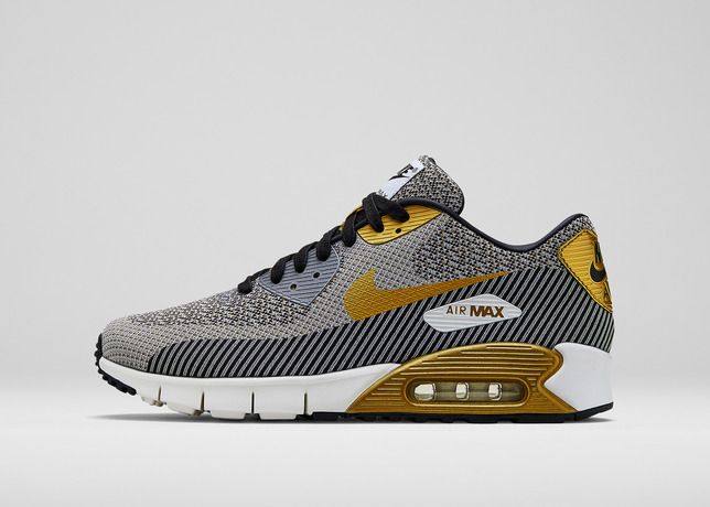 Newest Mens Gold Hypervenom Nike Air Max 90 Jacquard Premium QS