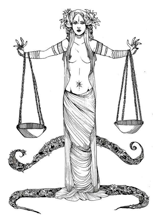 libra greek mythology goddess of justice coloring page free