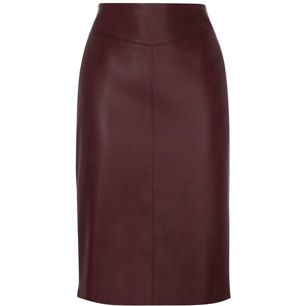 Karen Millen Faux Leather Pencil Skirt ($99) ❤ liked on Polyvore featuring skirts, sale women skirts, lined skirt, karen millen skirts, faux leather skirt, karen millen and brown pencil skirt