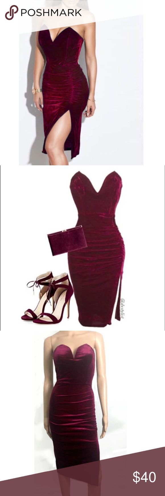 Burgundy Velvet Dress This dress is perfect for the holidays or for a date night! My absolute favorite                     Pre-Order - Item arrives in 5-15 business days - Price is firm unless bundled - NOT Missguided Missguided Dresses Midi